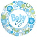 "114866 Baby Boy Circle and Stars Balloons - 17"" <br><font color=#365f97>$1.75 each (5 pieces/pack)</font>"