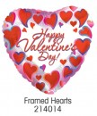 "214014 Framed Hearts Heart Shaped Balloons - 17"" <br><font color=#365f97>$1.75 each (5 pieces/pack)</font>"