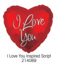 "214089 ""I Love You"" Script Heart Shaped Balloons - 17"" <br><font color=#365f97>$1.75 each (5 pieces/pack)</font>"