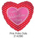 "214290 Pink Polka Dot Heart Shaped Balloons - 17"" <br><font color=#365f97>$1.75 each (5 pieces/pack)</font>"