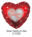 "214292 Silver Hearts on Red Heart Shaped Balloons - 17"" <br><font color=#365f97>$1.75 each (5 pieces/pack)</font>"