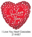 "214487 I Love You Heart Cascade Heart Shaped Balloons - 17"" <br><font color=#365f97>$1.75 each (5 pieces/pack)</font>"