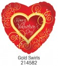 "214582 Gold Swirls Heart Shaped Balloon - 17"" <br><font color=#365f97>$1.75 each (5 pieces/pack)</font>"