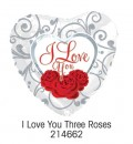 "214662 ""I Love You"" Three Roses Heart Shaped Balloons - 17"" <br><font color=#365f97>$1.75 each (5 pieces/pack)</font>"