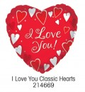 "214669 I Love You Classic Hearts, Heart Shaped Balloons - 17"" <br><font color=#365f97>$1.75 each (5 pieces/pack)</font>"