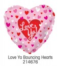 "214676 Love Ya Bouncing Hearts Heart Shaped Balloons - 17"" <br><font color=#365f97>$1.75 each (5 pieces/pack)</font>"