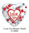 "214695 I Love You Mosaic Hearts, Heart Shaped Balloons - 17"" <br><font color=#365f97>$1.75 each (5 pieces/pack)</font>"