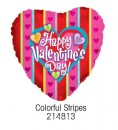 "214813 Colorful Stripes Heart Shaped Balloons - 17"" <br><font color=#365f97>$1.75 each (5 pieces/pack)</font>"