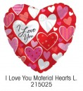 "215025 I Love You Material Hearts Heart Shaped Balloons - 17"" <br><font color=#365f97>$1.75 each (5 pieces/pack)</font>"