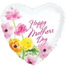 "215381 Happy Mother's Day Flowers Heart Shaped Balloons  - 17"" <br><font color=#365f97>$1.75 each (5 pieces/pack)</font>"