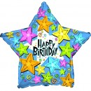 "814423 Happy Birthday Stars Balloon - 17"" <br><font color=#365f97>$1.75 each (5 pieces/pack)</font>"
