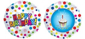 "114135 Happy Birthday Cupcake Balloon - 17"" <br><font color=#365f97>$1.75 each (5 pieces/pack)</font>"