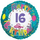 "114163 Happy 16th Birthday Balloon - 17"" <br><font color=#365f97>$1.75 each (5 pieces/pack)</font>"