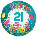 "114165 Happy 21st Birthday Balloon - 17"" <br><font color=#365f97>$1.75 each (5 pieces/pack)</font>"