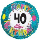 "114167 Happy 40th Birthday Balloon - 17"" <br><font color=#365f97>$1.75 each (5 pieces/pack)</font>"
