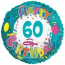 "114173 Happy 60th Birthday Balloon - 17"" <br><font color=#365f97>$1.75 each (5 pieces/pack)</font>"