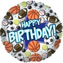 "114604 Happy Birthday Sports Balloon - 17"" <br><font color=#365f97>$1.75 each (5 pieces/pack)</font>"