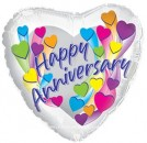 "214104 Heart Shaped Happy Anniversary Balloons - 17"" <br><font color=#365f97>$1.75 each (5 pieces/pack)</font>"
