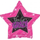 "814006 Graduation You Go Grad Pink - 17"" <br><font color=#365f97>$1.75 each (5 pieces/pack)</font>"