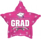 "814008 Congrats Grad Hot Pink Star - 17"" <br><font color=#365f97>$1.75 each (5 pieces/pack)</font>"