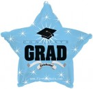 "814010 Congrats Grad Light Blue Star - 17"" <br><font color=#365f97>$1.75 each (5 pieces/pack)</font>"
