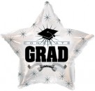 "814620 Congrats Grad White Star - 17"" <br><font color=#365f97>$1.75 each (5 pieces/pack)</font>"