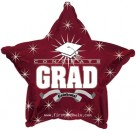 "814626 Congrats Grad Maroon Star - 17"" <br><font color=#365f97>$1.75 each (5 pieces/pack)</font>"