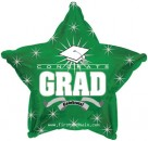 "814627 Congrats Grad Green Star - 17"" <br><font color=#365f97>$1.75 each (5 pieces/pack)</font>"